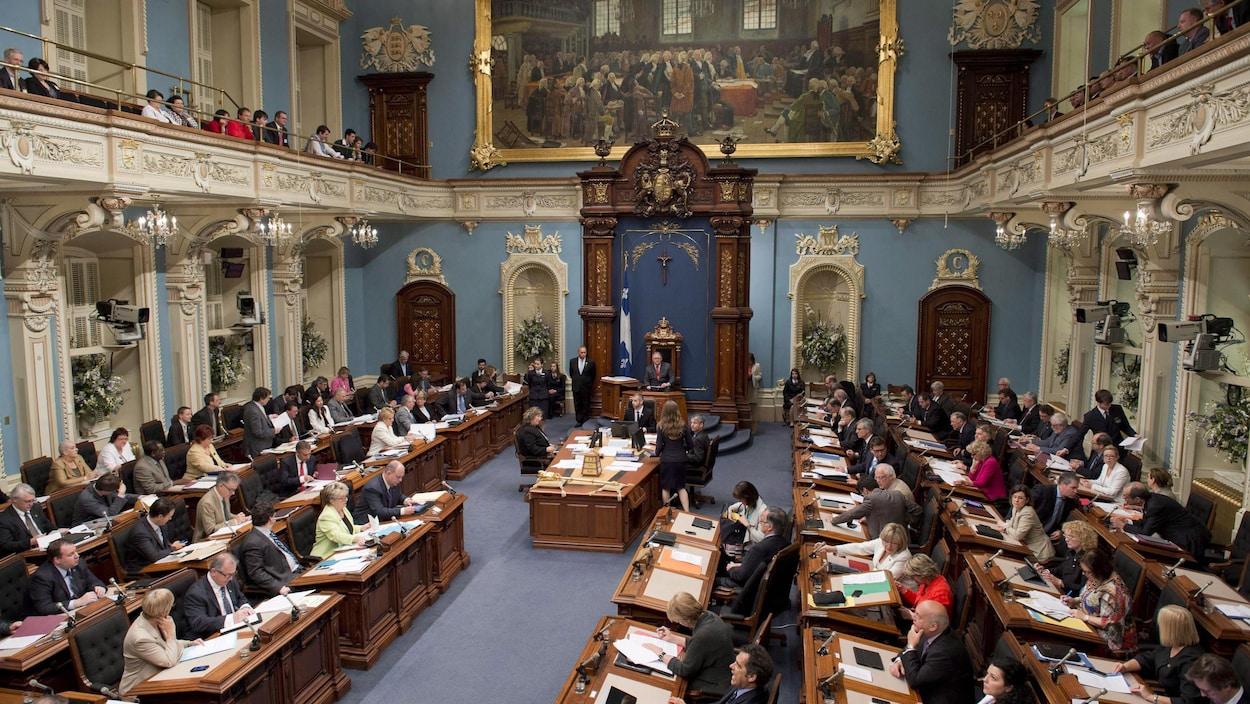 Des parlementaires travaillent au Salon bleu.