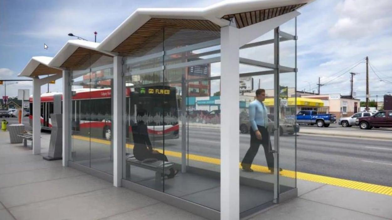 Une photo synthétisant une statio de bus de la Ville.