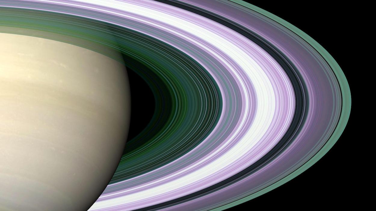 La planète Saturne et ses anneaux.