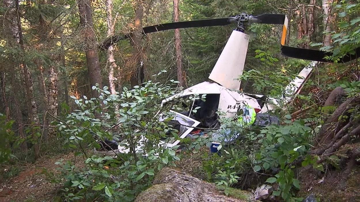 Plan rapproché d'un hélicoptère abîmé en forêt.