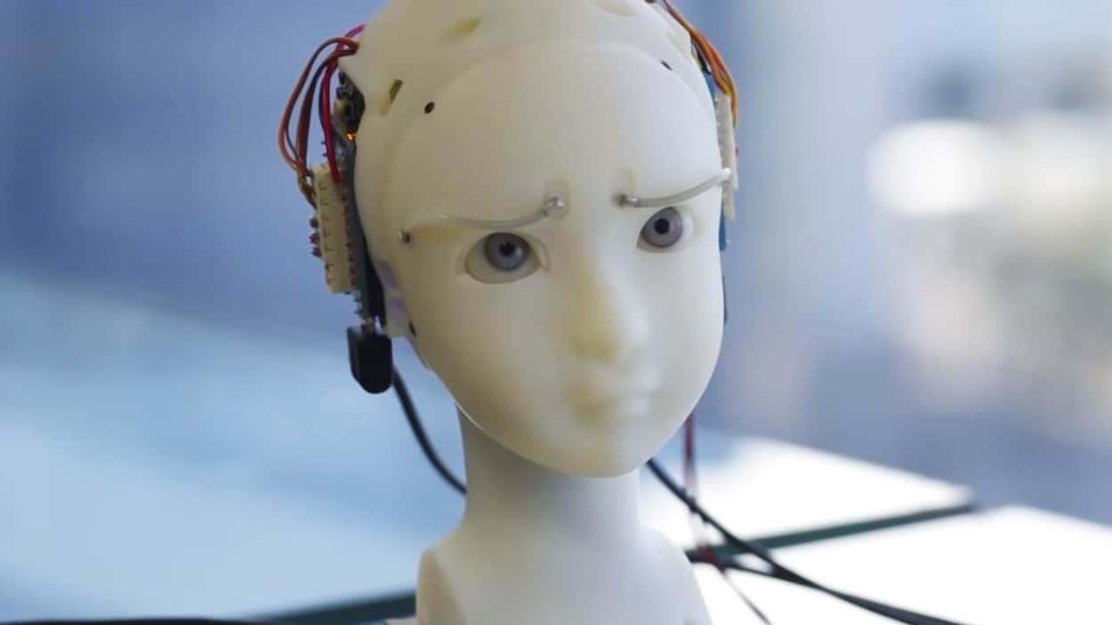 Une capture d'écran montrant un buste blanc aux grands yeux bleus globuleux. Des fils et des pièces électroniques pendant de l'arrière de la tête du buste.
