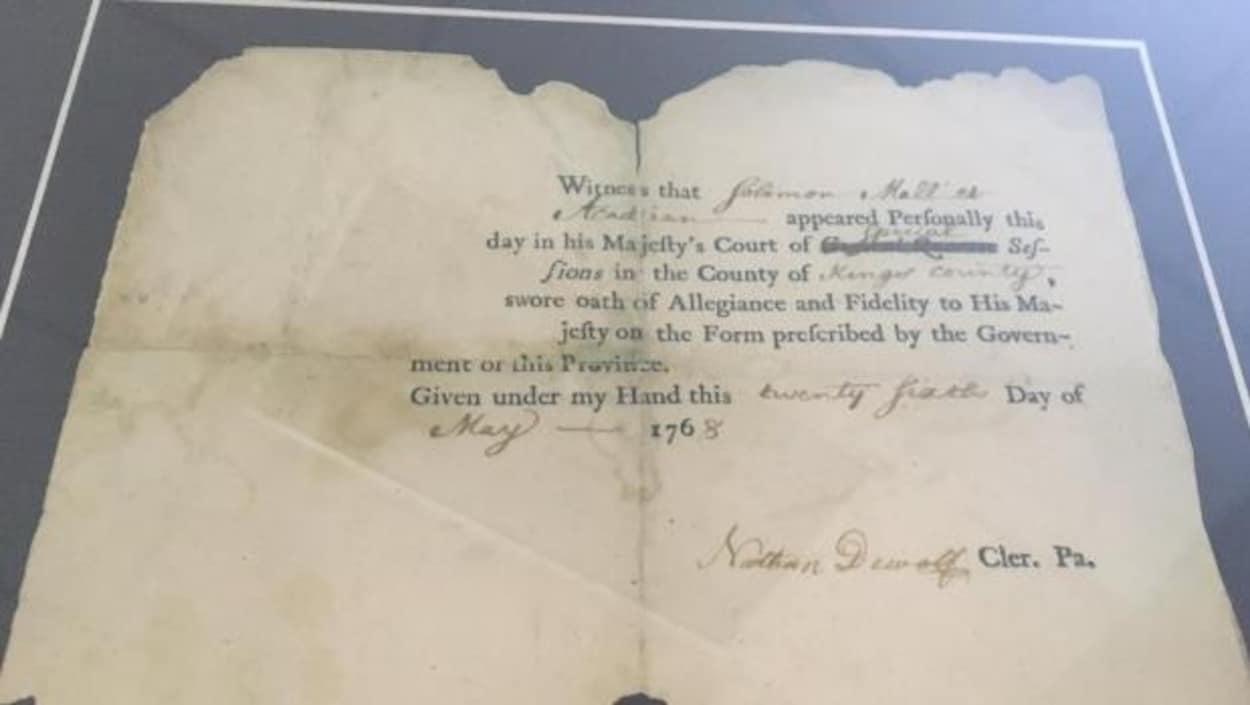 Serment d'allégeance au Roi George III signé par l'Acadien Antoine Solomon Malliet, en 1763