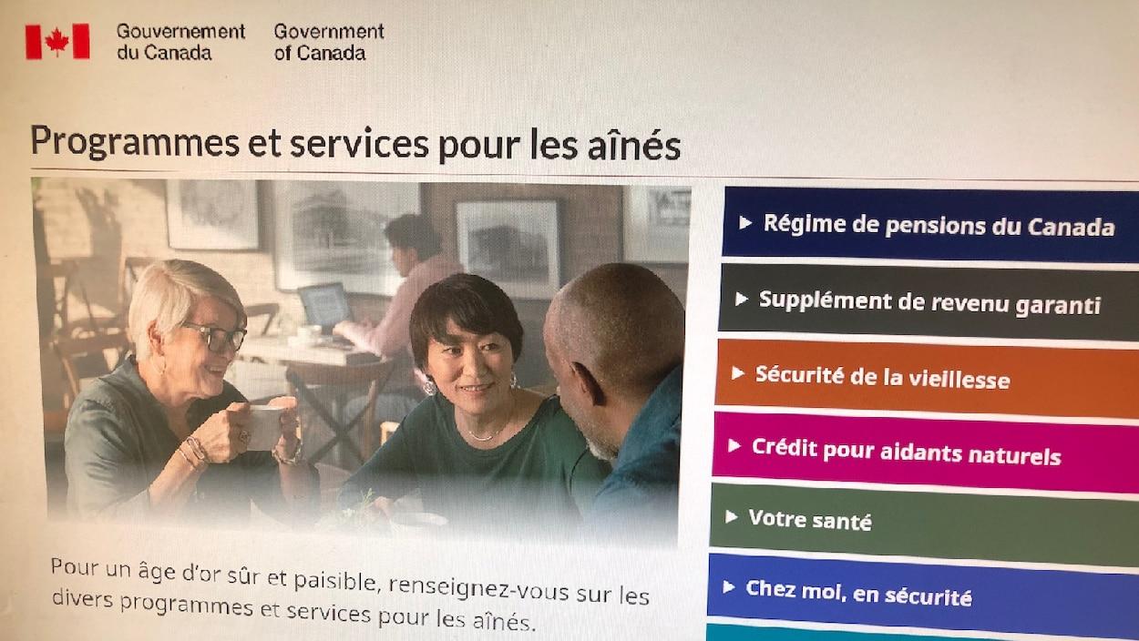 Le site web de Service Canada.