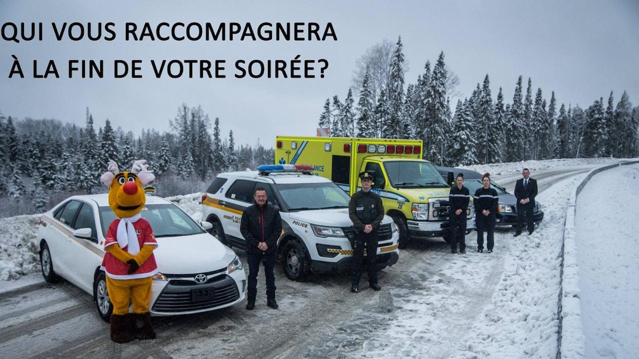 nez rouge, taxi, police, ambulance. corbillards alignés