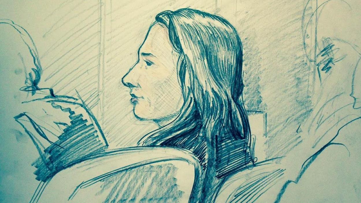 Croquis de Marissa Shephard dans la salle d'audience du tribunal