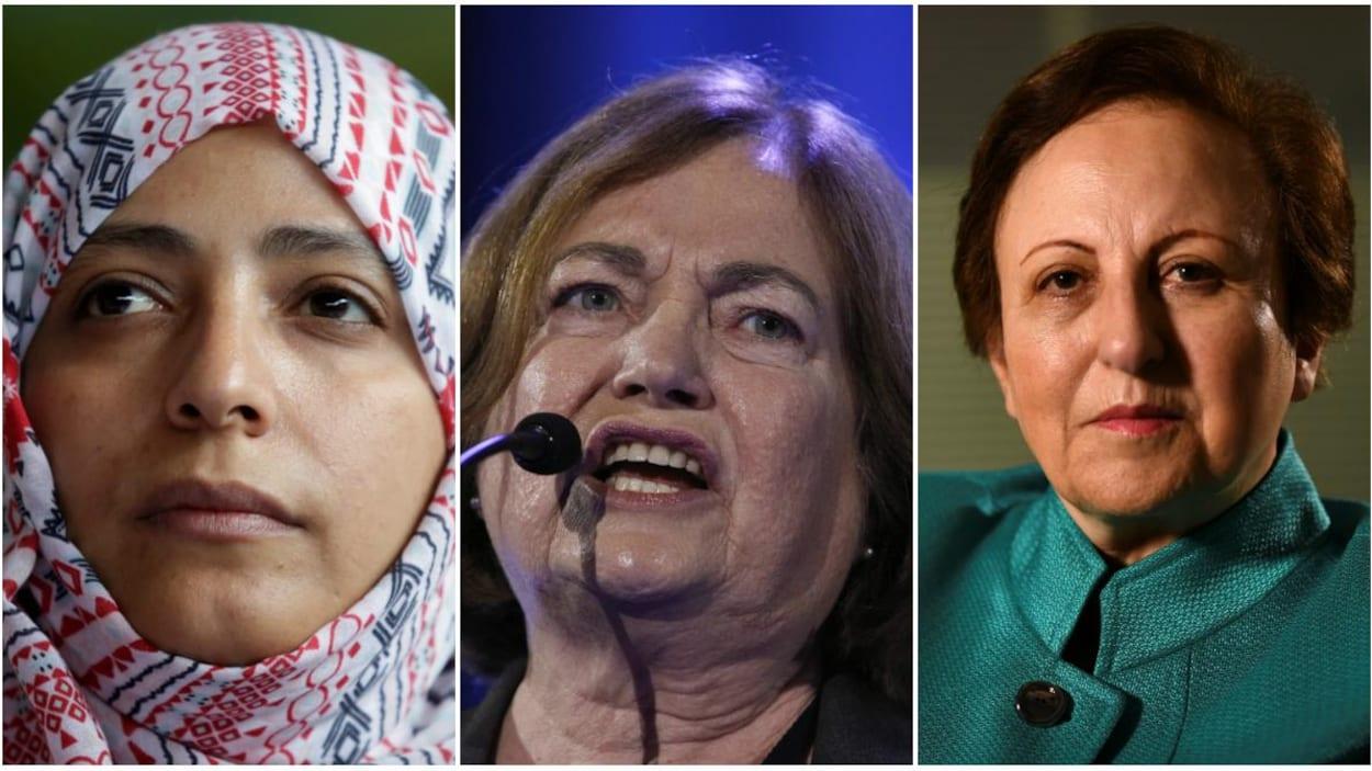 Trois lauréates du prix Nobel de la paix : l'Iranienne Shirin Ebadi, la Yéménite Tawakkol Karman et la Nord-Irlandaise Mairead Maguire