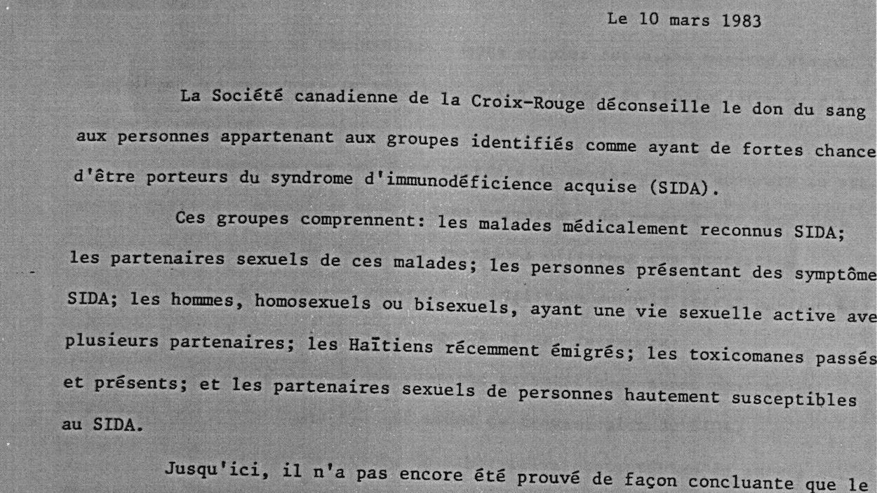 Communiqué du 10 mars 1983 de la Croix-Rouge canadienne demandant à certaines personnes et communautés de ne pas donner leur sang.