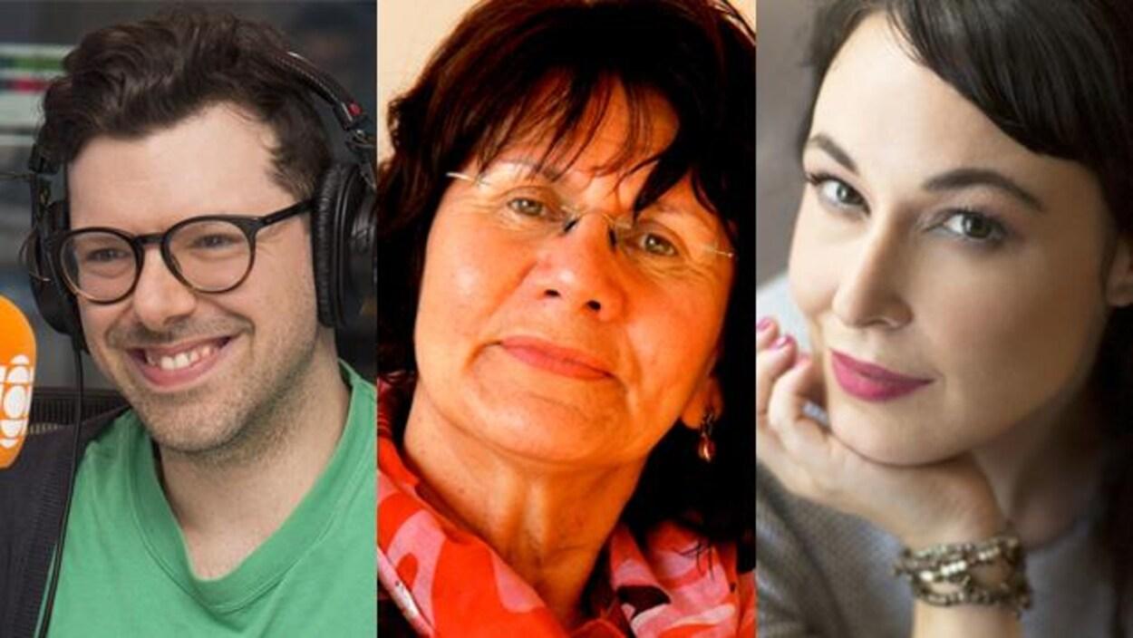 Les auteurs Simon Boulerice, Virginia Pésémapéo Bordeleau et Claudia Larochelle