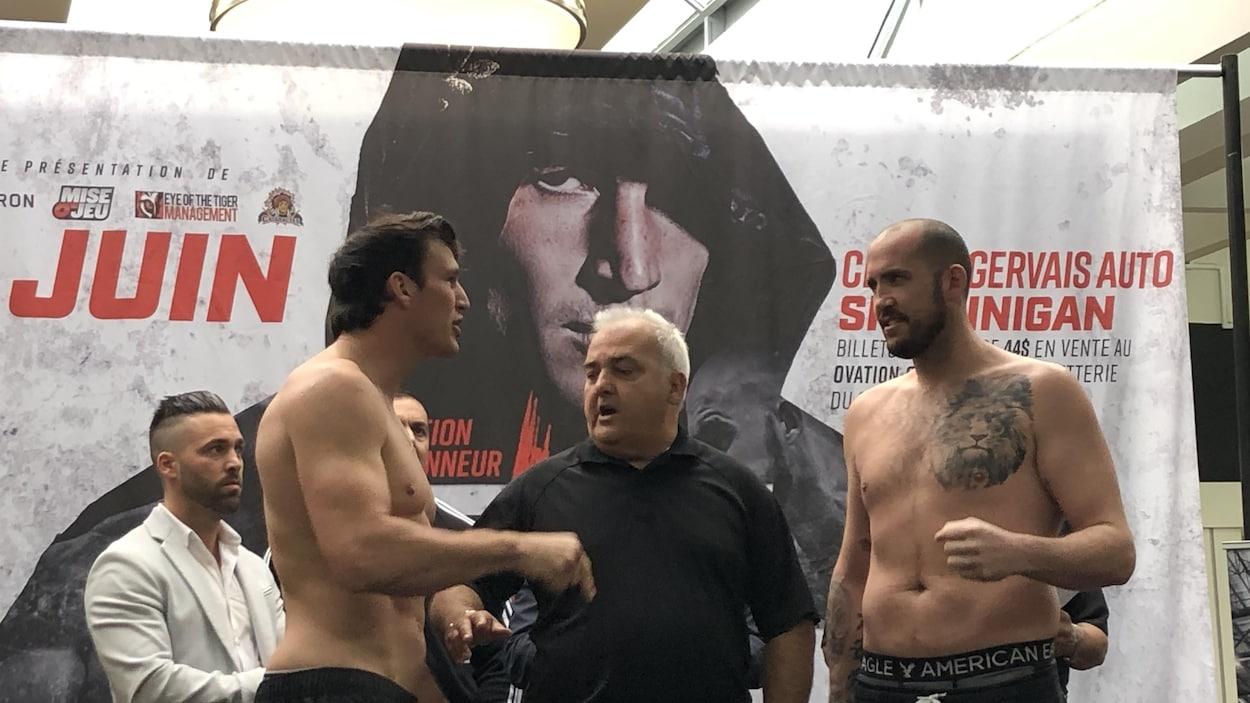 La tension a monté d'un cran entre Simon Kean et Dillon Carman lors de la pesée officielle.
