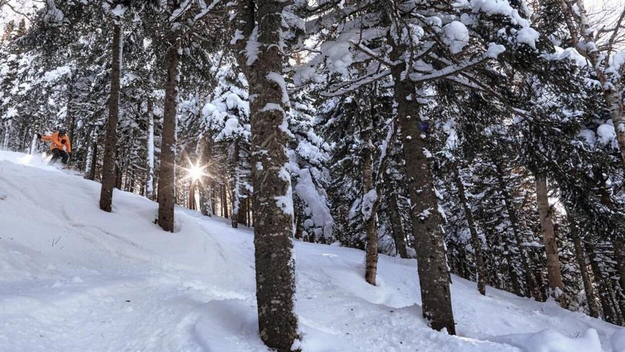 Un skieur du Massif du Sud, à Saint-Philémon.