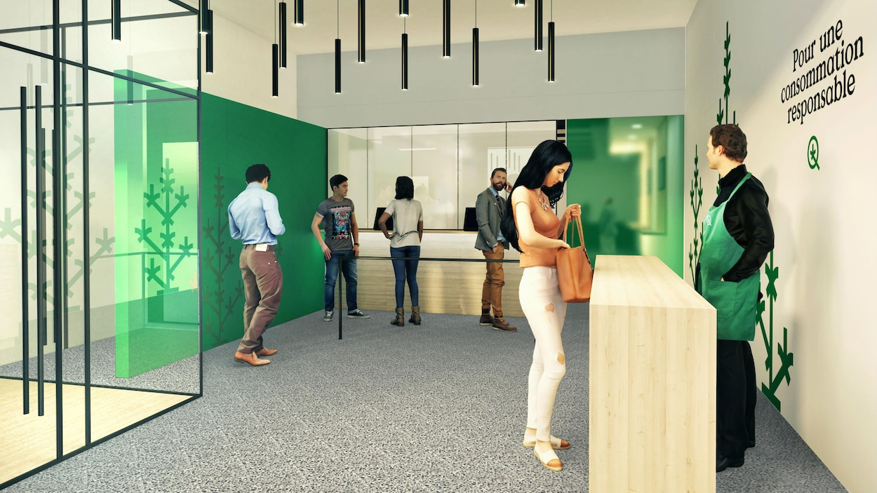 Quelques clients dans un petit commerce, avec un employé derrière un comptoir.