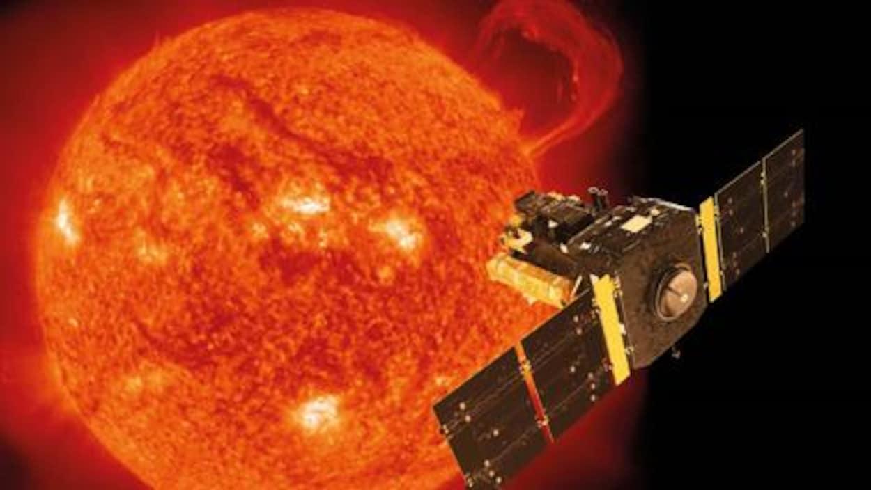 Représentation artistique de la sonde SOHO en orbite autour du Soleil.