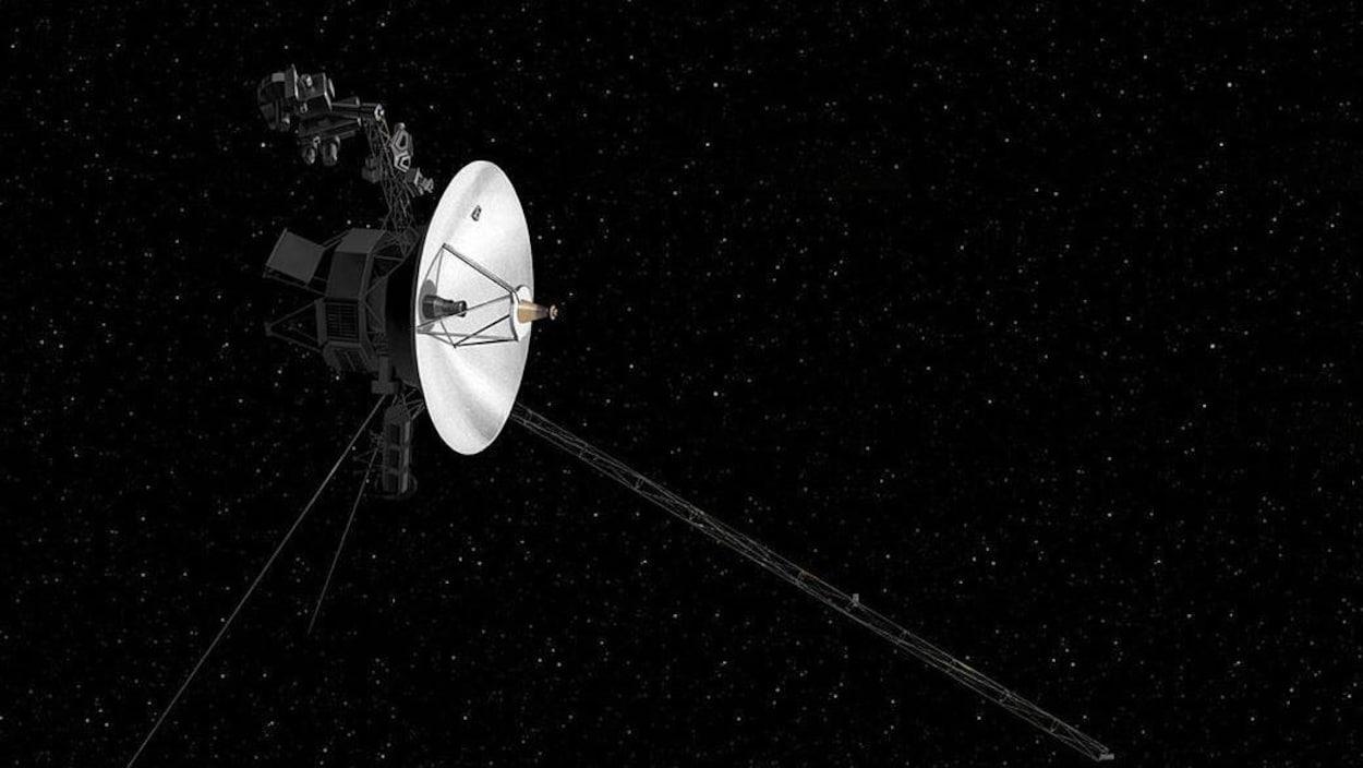 Représentation artistique de la sonde Voyager 2 dans l'espace.