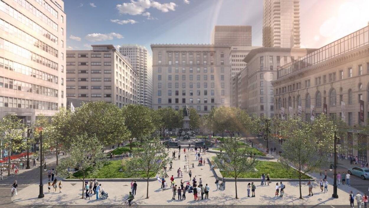 Dessin présentant une vue d'ensemble du futur square Phillips