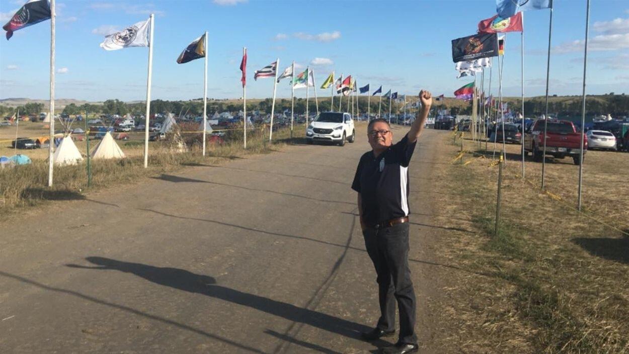 Le chef innu de Mingan, Jean-Charles Piétacho, à Standing Rock, dans le Dakota du Nord