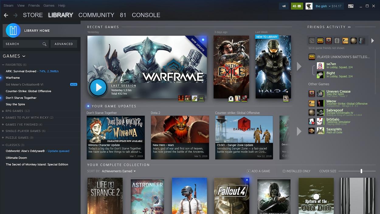 Une capture d'écran de la nouvelle bibliothèque Steam.