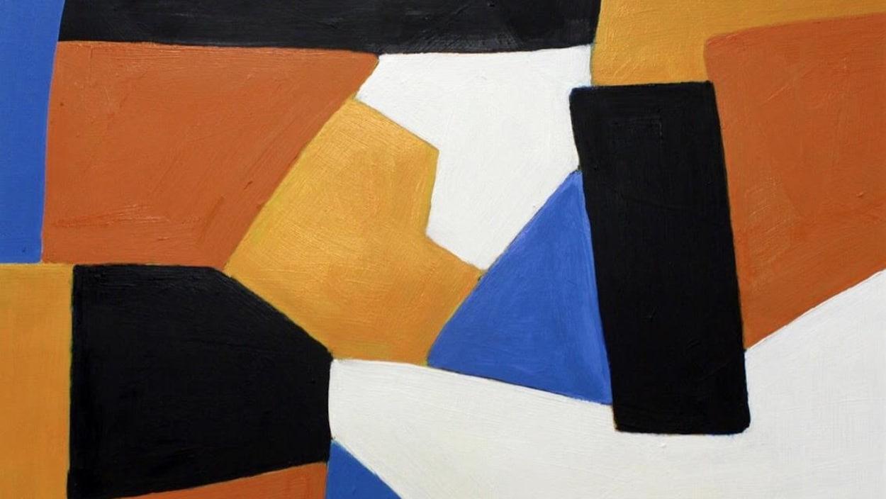 Une peinture abstraite de plusieurs couleurs.