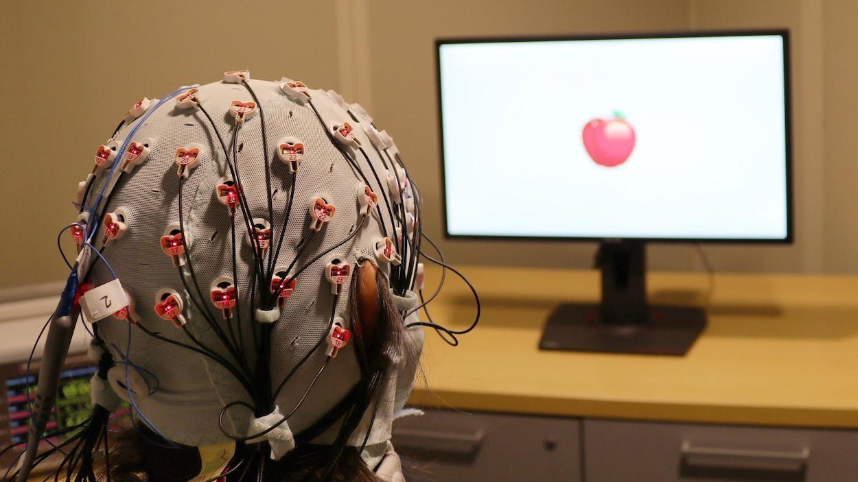 On voit de dos une participante à l'étude qui porte un casque de stimulation électrique. Elle regarde un écran où est affichée une pomme.