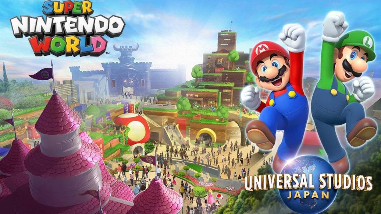 Univers de Super Mario, avec en avant-plan Mario et Luigi qui sautent avec le poing dans les airs.