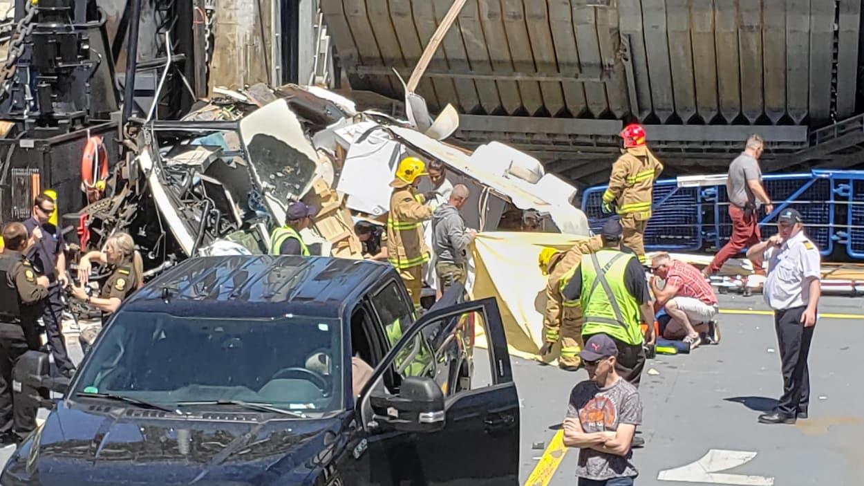 La scène d'accident sur le traversier.