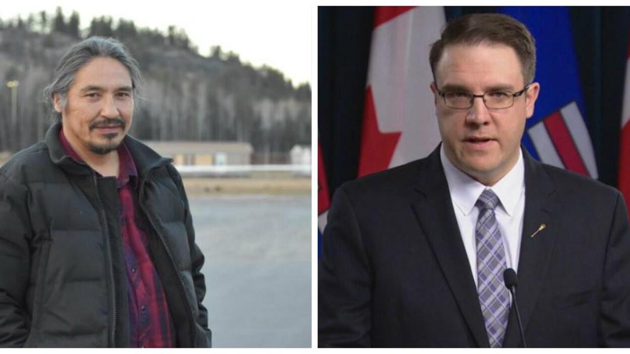Un montage photo avec, à gauche, le chef de la Première Nation des Chipewyans d'Athabasca, Allan Adam, et à droite, le ministre de l'Environnement albertain, Jason Nixon.