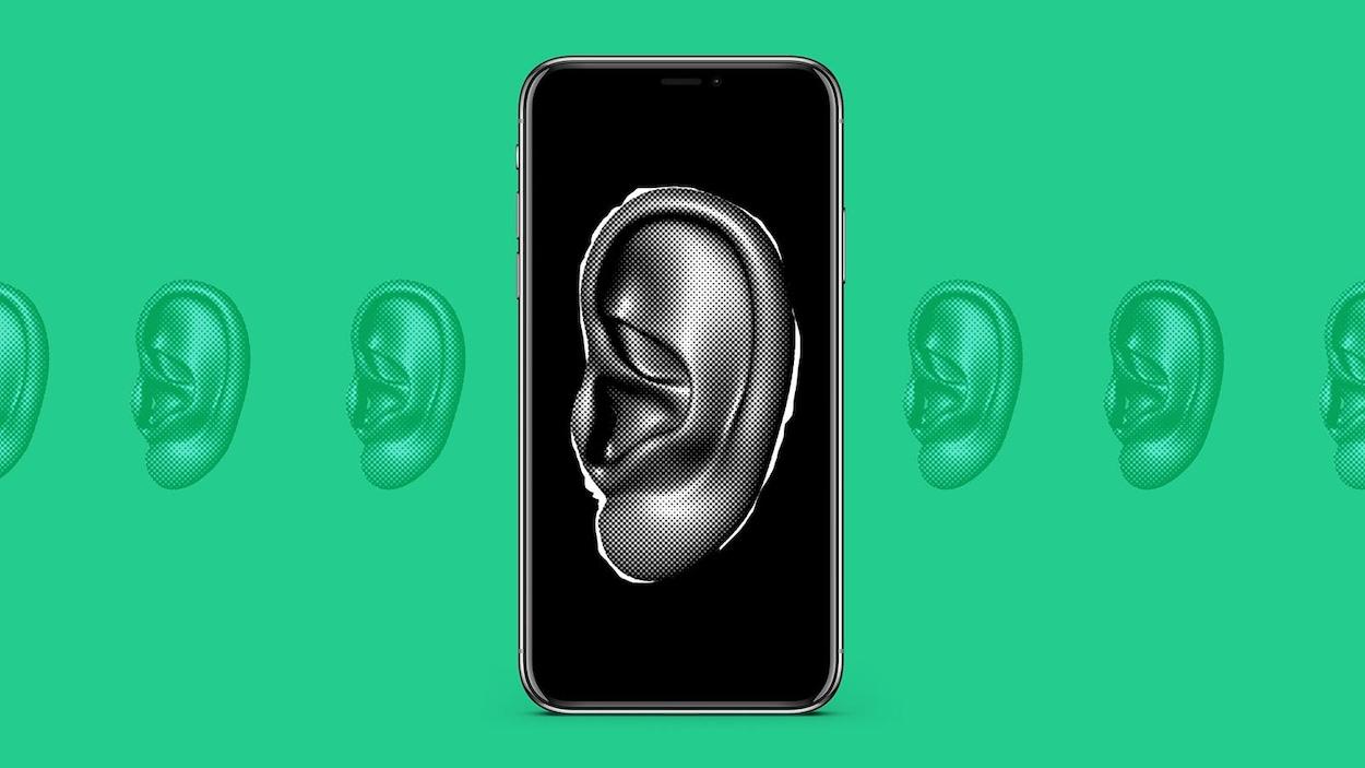 Illustration d'une oreille sur un téléphone cellulaire.