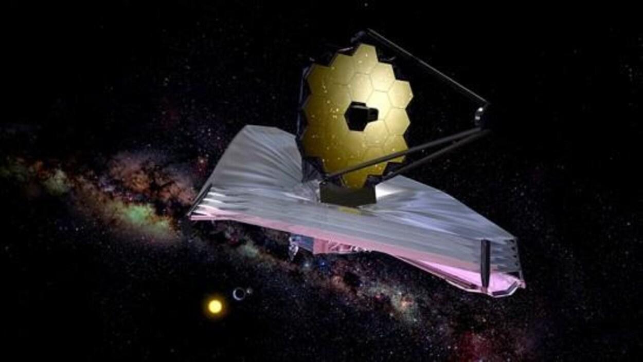 Représentation artistique du télescope James Webb.