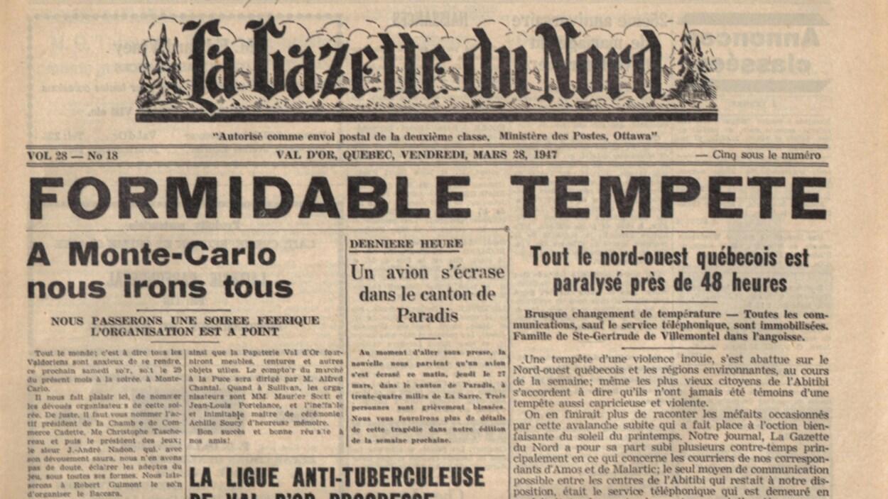 Le journal La Gazette du Nord suite à « La grande tempête », Société d'histoire d'Amos