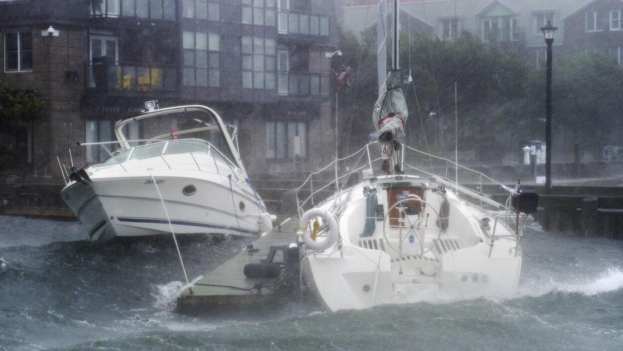 Des bateaux sont malmenés par d'importantes vagues dans une marina.