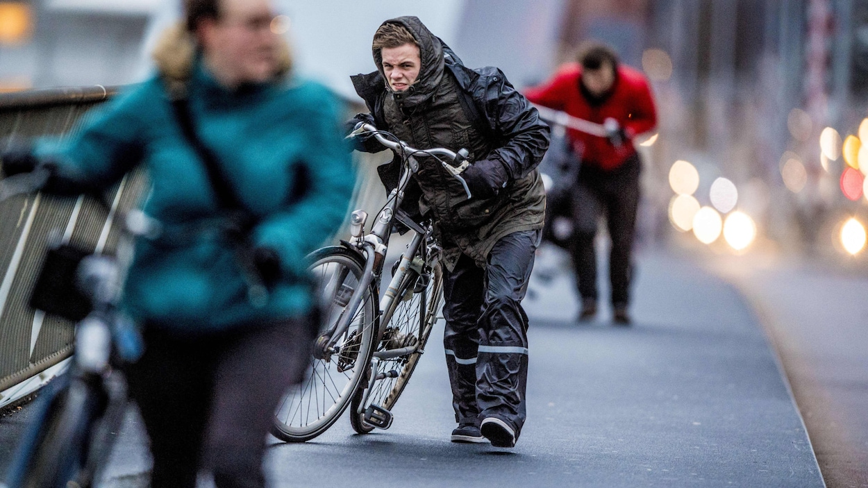 Des cyclistes dans le vent.