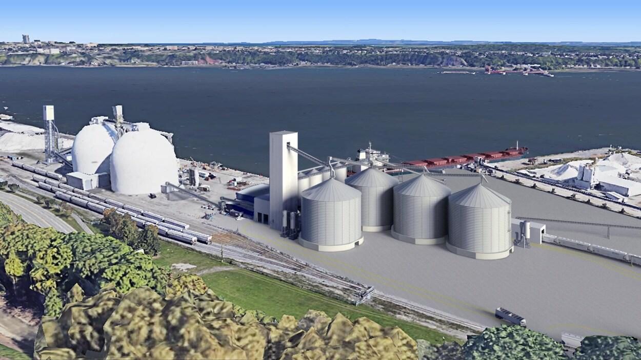 Un aperçu du projet de terminal maritime d'exportation de grains et de céréales dans le port de Québec.
