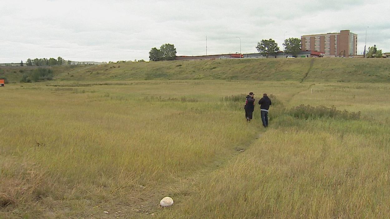 Deux hommes se tiennent dans un terrain vague couvert d'herbe en bordure d'une route.