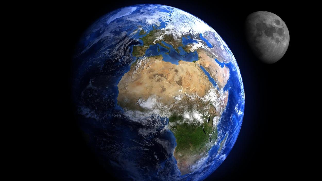 Représentation artistique de la Terre et de la Lune.