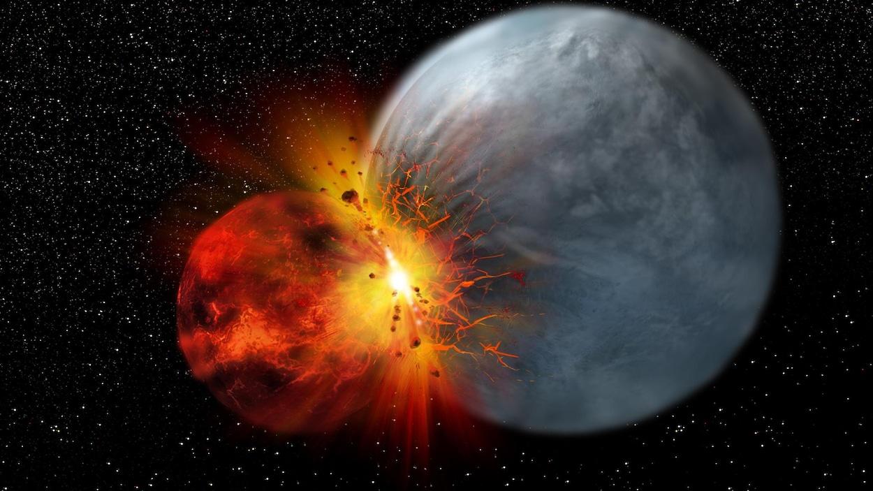 Illustration représentant l'impact d'un objet de la taille de Mars avec la Terre.