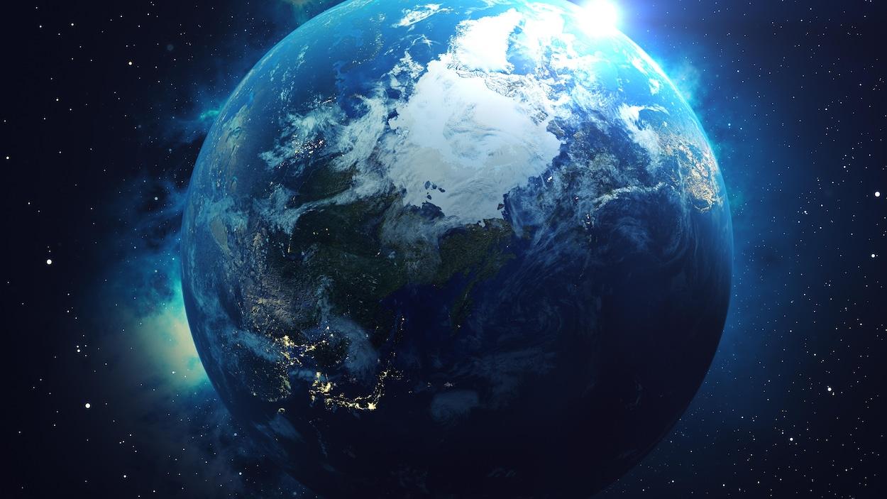 Représentation artistique du pôle Nord de la Terre.