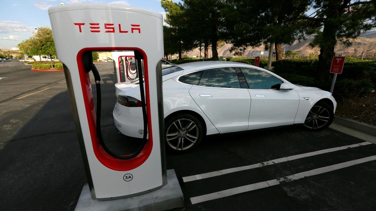 Une borne de recharge Tesla.