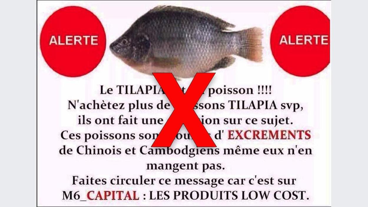 Une image circulant sur Facebook affirme que le tilapia est nourri d'excréments de Chinois et de Cambodgiens