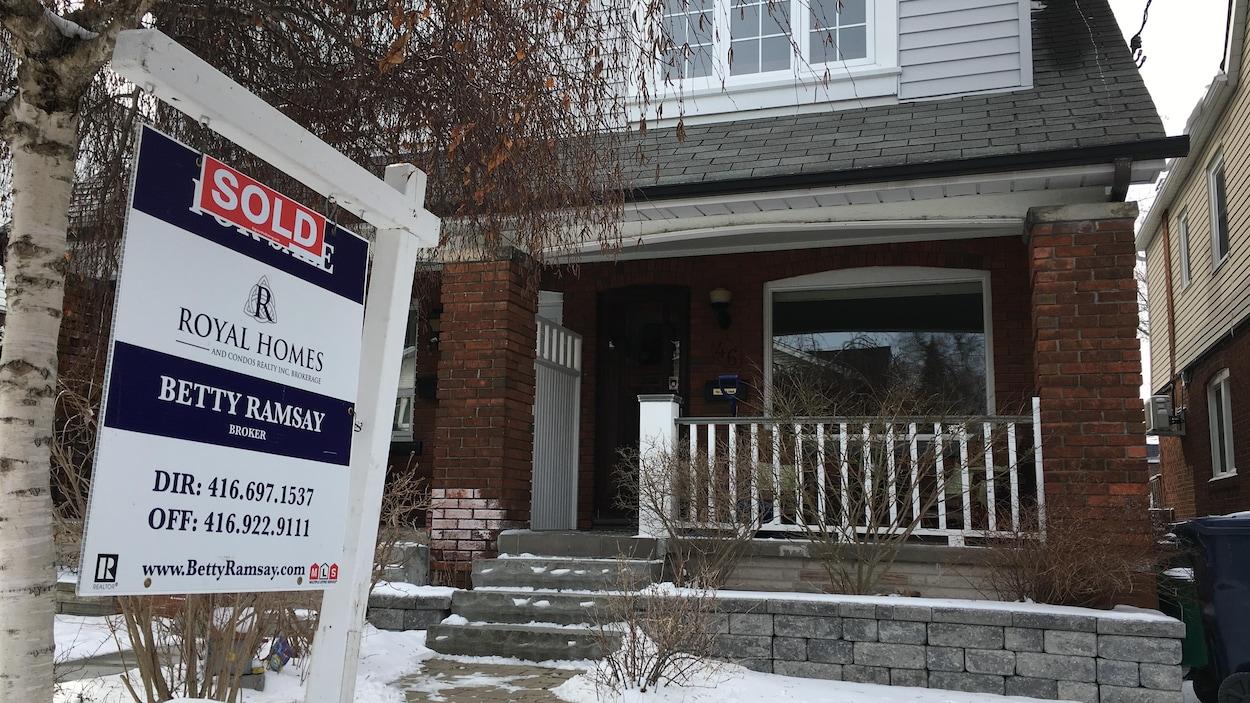 Photo d'une affiche « vendue » devant une maison à Toronto