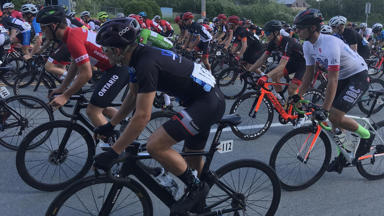 Des cyclistes en pleine course sur route.