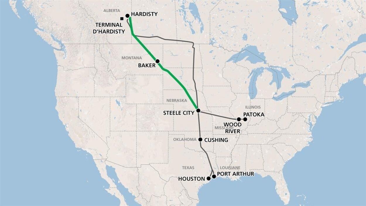 Carte des États-Unis et tracé du nouveau pipeline Keystone XL qui relierait l'Alberta au golfe du Mexique