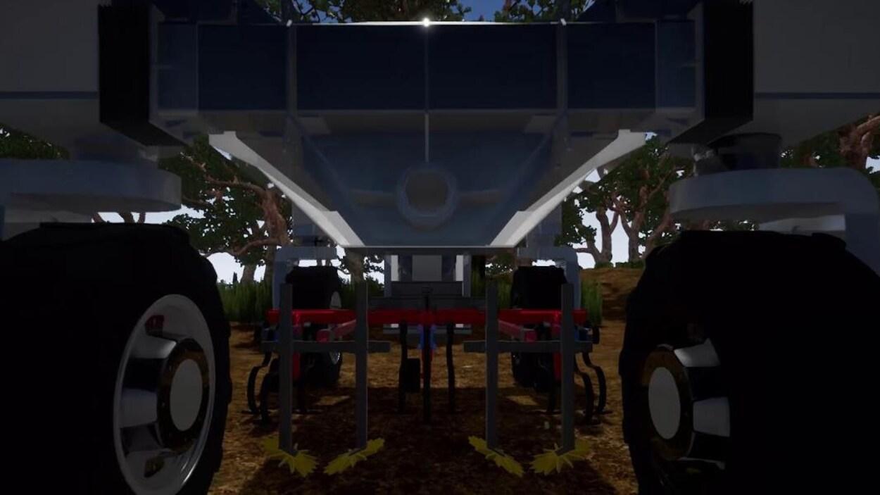 Gros plan sur les roues et les mécanismes d'un tracteur robot