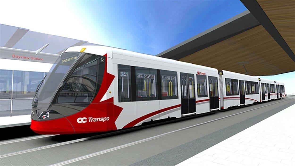 La maquette montre un train à la future station Bayview.
