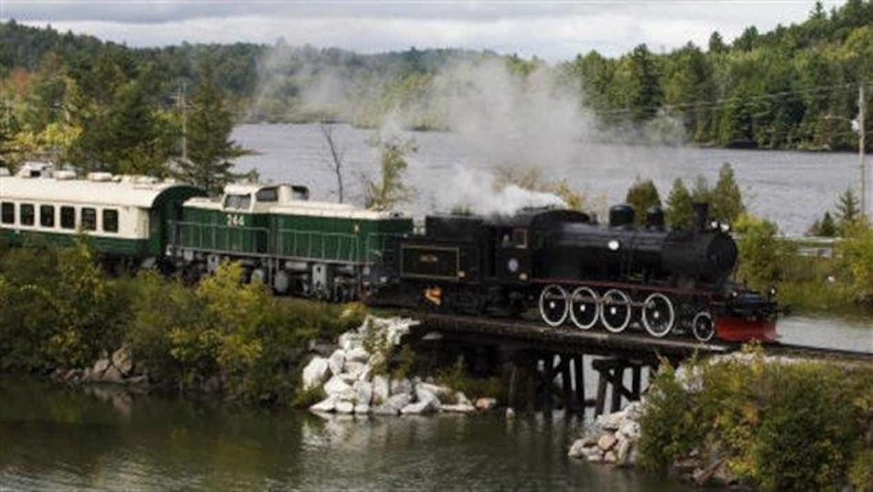 Une locomotive et ses wagons sur un pont