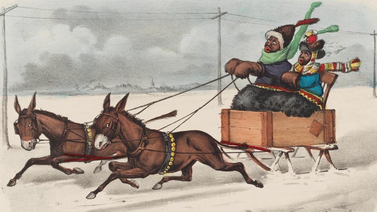 Une carte postale du 19e siècle illustre une caricature satirique d'un couple de Noirs en train de se promener à traîneau.