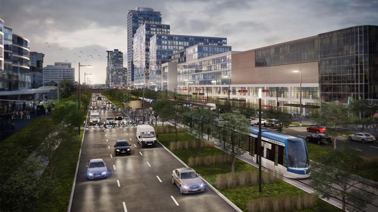 Le tramway circulera au centre du boulevard Laurier, dans le secteur de Sainte-Foy.