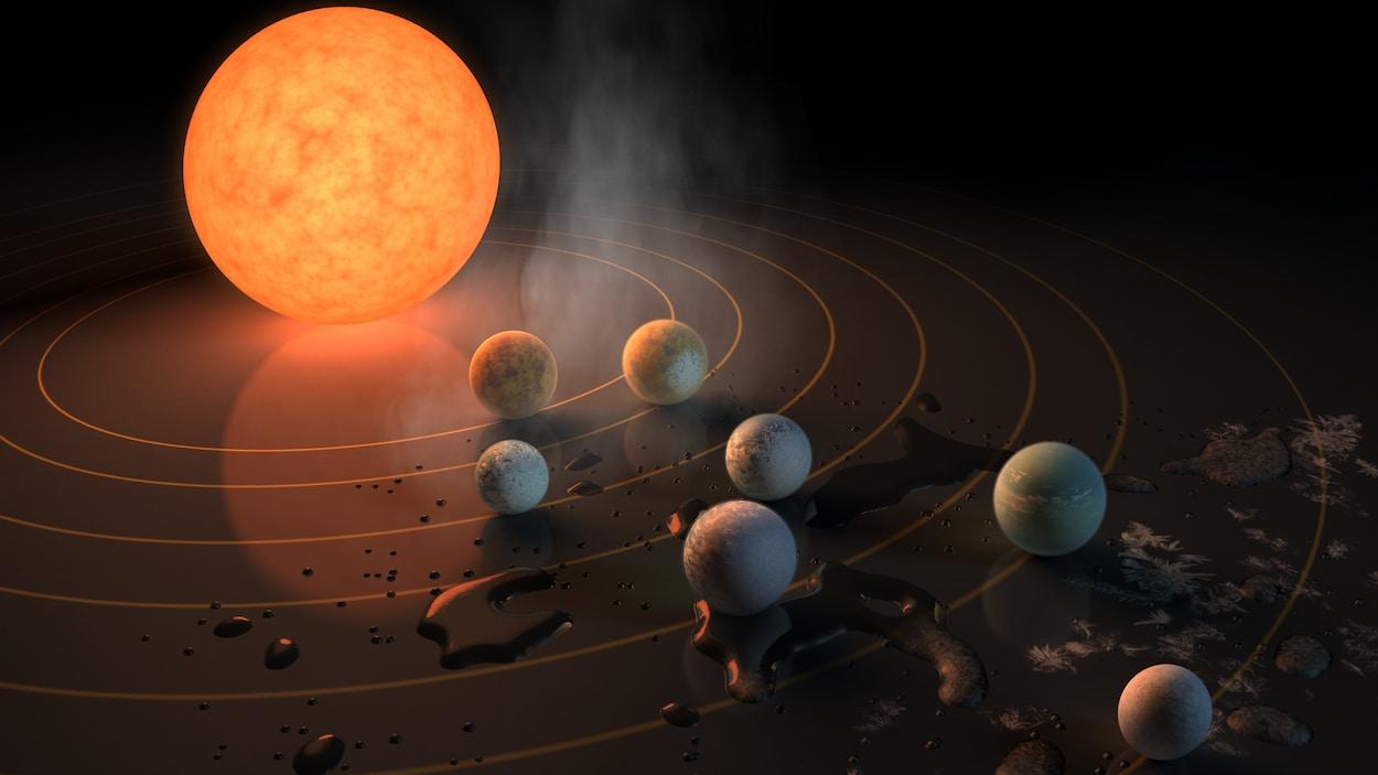 Les planètes de Trappist-1 rocheuses et peut-être riches en eau