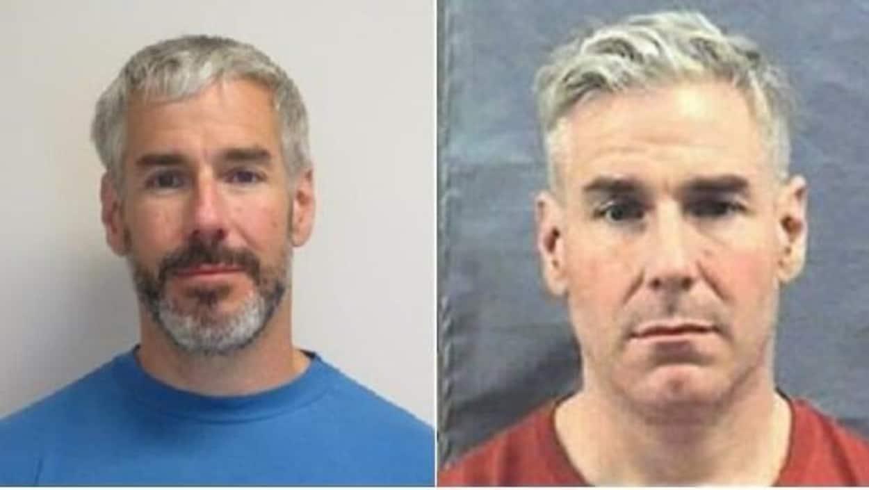 Deux photos du même homme, à gauche avec une barbe, à droite sans barbe.