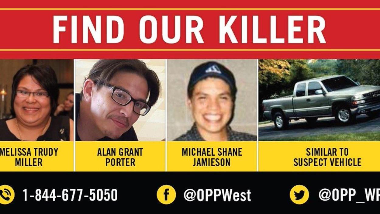 Une image montrant le visage de trois victimes d'un triple homicide.