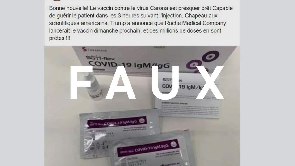 Une trousse de dépistage pour la COVID-19, avec une publication en texte et le mot FAUX.