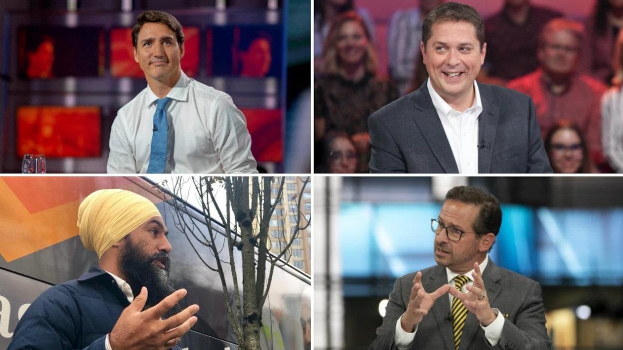 Photomontage de Justin Trudeau (PLC), Andrew Scheer (PC), Yves-François Blanchet (BQ) et Jagmeet Singh (NPD).